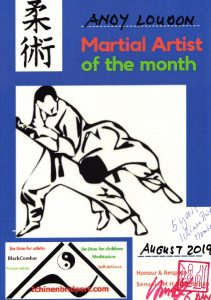 Andy Loudon martial artist of the month 8.19 at Ichinen Bridport